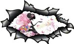 Ripped Torn Carbon Fibre Fiber Design With Beautiful Fairy & BUtterflies Motif External Vinyl Car Sticker 150x90mm